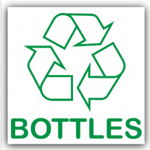 1 x Bottles Recycling Bin Adhesive Sticker-Recycle Logo Sign-Environment Label